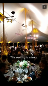 My fiancé sent this as a snapchat, ha, too funny, but honestly, the tent was stunning.