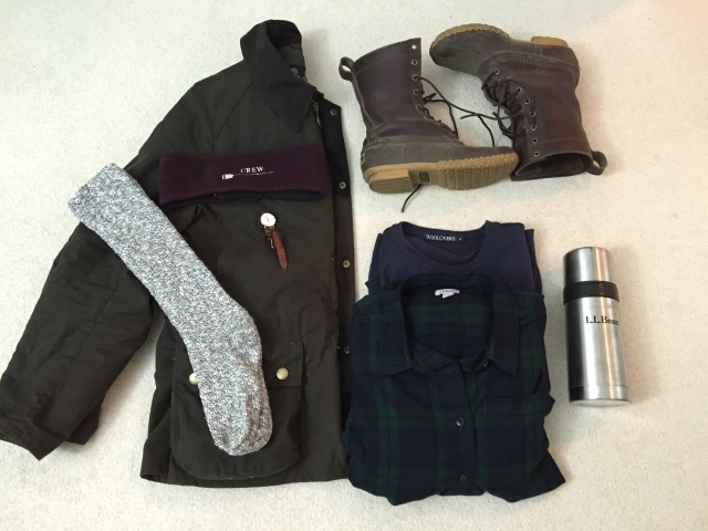 Barbour Jacket, crew fleece ear warmers,LLBean Flannel & Boot Socks, Woolover cashmere/cotton crewneck sweater, bean boots, & LLBean thermos