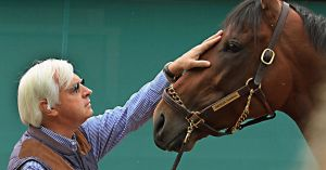 A tender moment between Bob Baffert and American Pharoah
