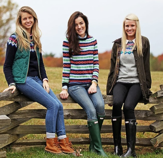Devon, Sarah, and Macy in their beautiful fair isle sweaters, C/O