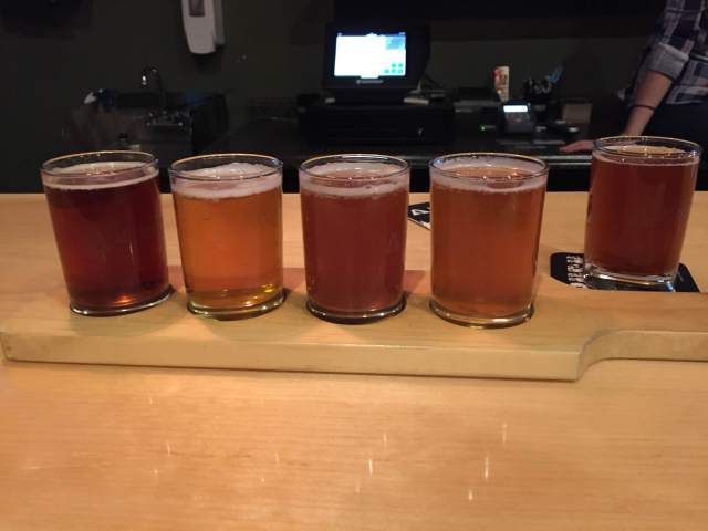 Sampler at Able Ebenezer's, my favorite was the Auburn, all the way to the left