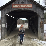 In front of the Vermont Country Store Kissing Bridge!